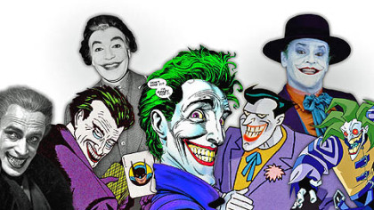 From left, The Joker&#039;s inspiration: 1928&#039;s &quot;The Man Who Laughs (with Conrad Veidt), and many iterations in comics, on live action TV (with Cesar Romero), in film (with Jack Nicholson) and in animation.