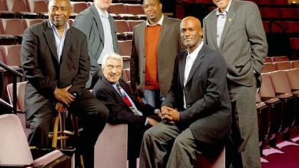 "Directors for ""August Wilson's 20th Century,"" from left: Israel Hicks, Todd Kreidler (standing), Gordon Davidson (sitting), Derrick Sanders, Kenny Leon and Lou Bellamy."