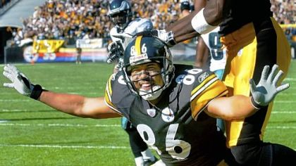 Hines Ward mocks Terrell Owens and 'The Dirty Bird' after scoring in 2004.