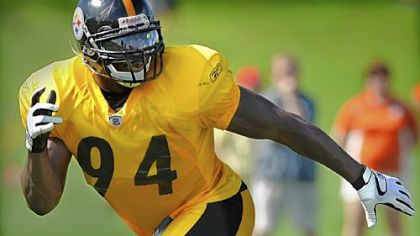 A healthy Lawrence Timmons zeroes in on a ballcarrier during yesterday's afternoon practice.
