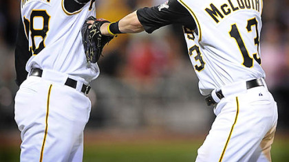 The Pirates' Nate McLouth (right) high fives winning pitcher Paul Maholm after beating the Yankees at PNC Park last night.
