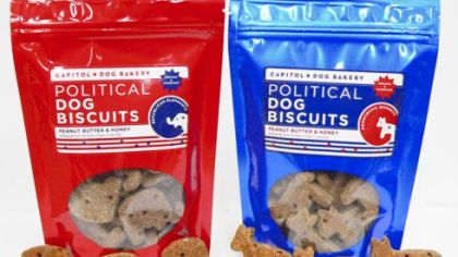 Political Dog Biscuit bags come in two different colors, with donkeys or elephants for your pet.