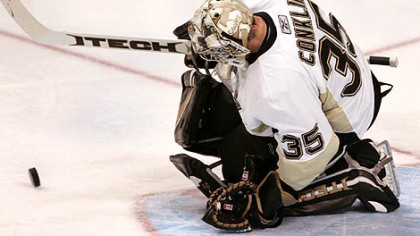 Penguins goalie Ty Conklin makes a save in the second period against the Florida Panthers  in Sunrise, Fla. yesterday.