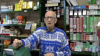 Morris Goldstein, 95, sells lottery tickets and cigarettes at Frank's News in Scranton. He cast his first vote for FDR, in the days the city boomed. Now, he says, people are struggling and he hopes the 2008 election will change things.
