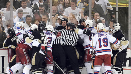 The Penguins and Rangers scrum in the final seconds before taking a 2 -0 lead in the series yesterday at Mellon Arena.