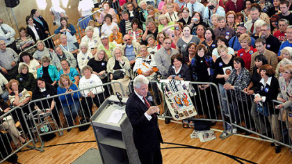 Former President Bill Clinton stumps for his wife at the Rose E. Schneider YMCA in Cranberry last evening.