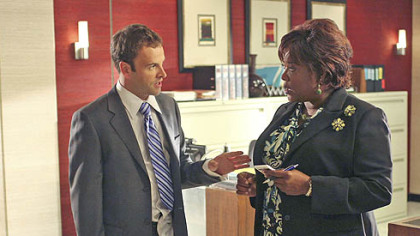 "Jonny Lee Miller is ""Eli Stone,"" with Loretta Devine as his assistant, Patti, in the new ABC series premiering tonight."
