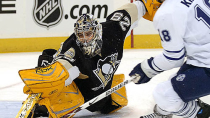 Marc-Andre Fleury makes a save vs. Toronto in October.