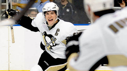 Sidney Crosby made an impact in his first game back last night in Tampa, Fla., assisting on the deciding goal by Max Talbot late in the third period.