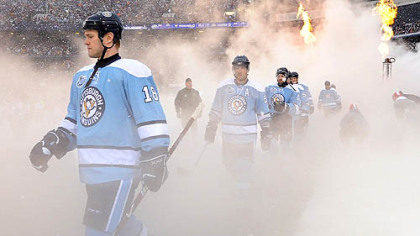 The NHL&#039;s first outdoor game in the United States was full of pyrotechnics and electricity.