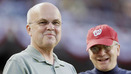 Central Intelligence Agency Director General Michael Hayden, left, and White House Chief of Staff Josh Bolten are pictured in the stands as the Pirates played the Washington Nationals last night in Washington.