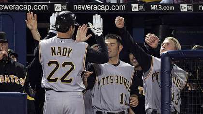 The Pirates' Xavier Nady is greeted at the dugout by teammates Freddy Sanchez (12) and Nate McLouth, right, after hitting a home run in the eighth inning of their game against the Atlanta Braves, Monday.