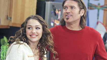 "Miley Cyrus, left, and her father, country music singer Billy Ray Cyrus, in a scene from the ""Hannah Montana"" TV show."