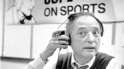 Myron Cope at home in his office/studio at WTAE in Wilkensburg in 1983.