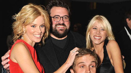 "From left, Elizabeth Banks, director Kevin Smith, Jason Mewes and Katie Morgan arrive at the ""Zack and Miri Make a Porno"" premiere Sunday at the Toronto International Film Festival."