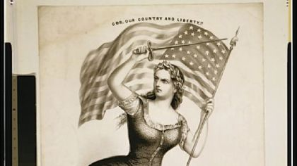 In a 1861 image published by Currier & Ives, Miss Columbia is armed with a sword and grasps an American flag.