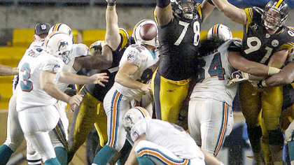 Steelers' Max Starks (78) blocks a field goal against the Dolphins last season.