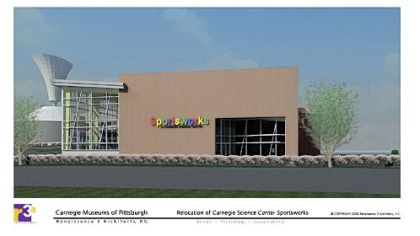 Artist's conception of the new SportsWorks building at the Carnegie Science Center.