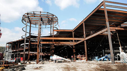 The steel structure of what will be the casino on the North Shore.