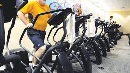 Jay Crown, 36, of Fox Chapel, uses the StairMaster at Bally&#039;s Downtown.