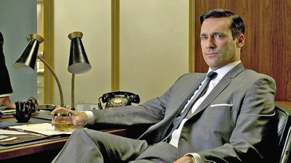 Jon Hamm plays ad man Don Draper, the central character in &quot;Mad Men, who stays cool in single-breasted suits and monotone colors.