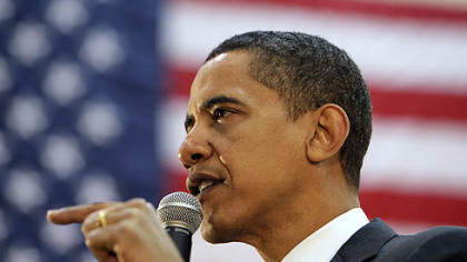 Democratic presidential hopeful Sen. Barack Obama D-Ill., speaks during a town hall meeting at Ball State University in Muncie, Ind., yesterday.