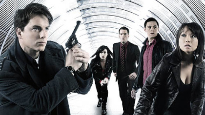 "The team ""Torchwood"" == John Barrowman, left, Eve Myles, Gareth David Lloyd, Burn Gorman and Naoko Mori."