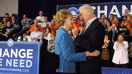 Sen. Joe Biden, the Democratic Party's 2008 vice presidential nominee, talks with Norma Margonari after she introduced him in Greensburg.