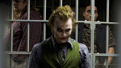 This undated publicity photo provided by Warner Bros. shows Heath Ledger in costume as The Joker in the upcoming Warner Bros. and Legendary Pictures action drama &quot;The Dark Knight&quot;.