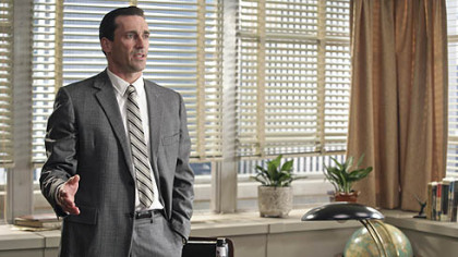 "Actor Jon Hamm portrays Don Draper, the creative director of the Sterling Cooper Advertising Agency, in the AMC dramatic series ""Mad Men."" Hamm yesterday won the Golden Globe for Best Performance by an Actor In A Television Series Drama for his role."