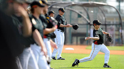 Byung-Hyun Kim works out for the first time with the Pirates pitching staff yesterday in Bradenton, Fla.