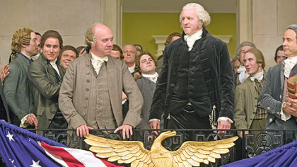 "From the HBO miniseries ""John Adams"": Paul Giamatti as John Adams and David Morse as George Washington."