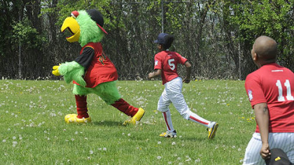 DeAngelo Houston, 13, from the Hill District and a member of the Pittsburgh Crawfords chases the Pirate Parrot in the outfield of the newly dedicated Josh Gibson Fields in the Hill District Tuesday, May 6, 2008.