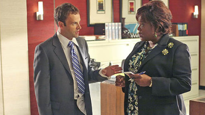 "Jonny Lee Miller and Loretta Devine in ""Eli Stone."""