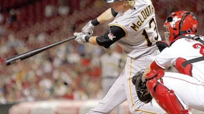 Nate McLouth drives in what proved to be the winning run in the top of the 11th inning last night at Great American Ball Park. Jack Wilson scored on McLouth's hit.