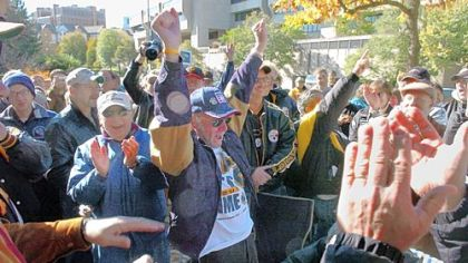 Fans celebrate Bill Mazeroski's 1960 World Series-winning home run at the Forbes Field wall in Oakland in Oct. 2006. Fans gather every year to celebrate one of the greatest moments in Pittsburgh sports history.