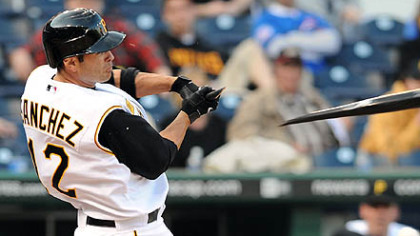 Freddy Sanchez breaks his bat against the Cubs yesterday at PNC Park.