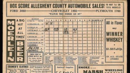 Scorecard noting the last three home runs hit by Babe Ruth.