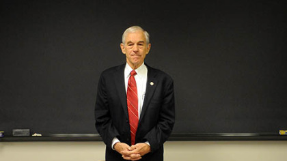 U.S. Rep. Ron Paul holds a news conference at Indiana University of Pennsylvania in support of his candidacy for the Republican presidential nomination.