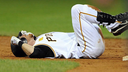 Ryan Doumit reacts after being tagged out while trying to stretch a single into a double in the third inning last night against the Dodgers at PNC Park.