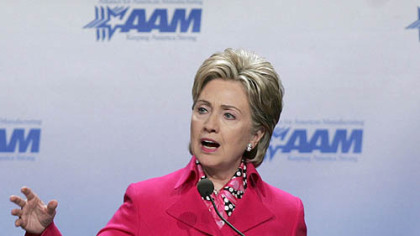 Sen. Hillary Rodham Clinton addresses the Alliance for American Manufacturing in Pittsburgh on Monday.
