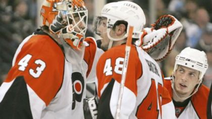 The Flyers' Martin Biron and Danny Briere (48) need to regain their swagger if they hope to beat the Penguins tonight.