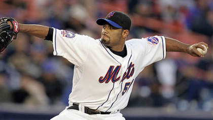 Mets starter Johan Santana gave up two early home runs and lasted only 5 2/3 innings last night.