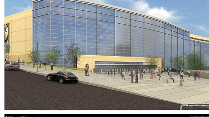 The Centre Avenue entry plaza for the Penguins' new arena. This version is adapted from previous drawings.