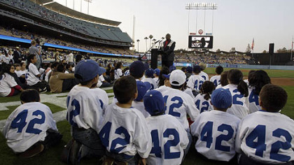 Oscar-winning actor Lou Gossett Jr. speaks before the Los Angeles Dodgers&#039;&#039; baseball game against the  Pirates in Los Angeles, Tuesday last niht. Gossett was part of the events to celebrate the 61st anniversary of Jackie Robinson breaking major league baseball&#039;s color barrier.