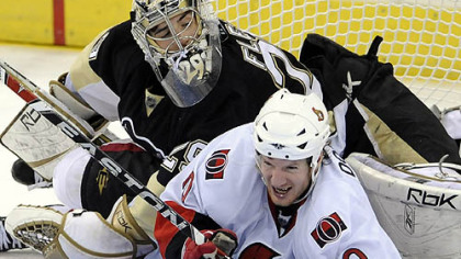 Ottawa&#039;s Shean Donovan goes down into Penguins goalie Marc-Andre Fleury in the third period of Game 2 Friday night. Can he and the Senators get back up? History says no.