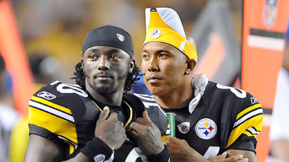 Steeler receivers Santonio Holmes and Hine Ward