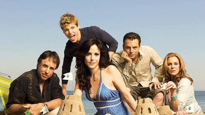 "Kevin Nealon, Hunter Parrish (looking all grown up), Mary-Louise Parker, Justin Kirk and Elizabeth Perkins star in ""Weeds"" on Showtime."