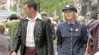 "Jason O'Mara and Gretchen Mol in ""Life on Mars."""