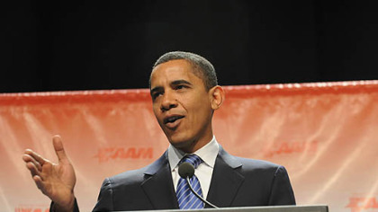 Sen. Barack Obama speaks at the David L. Lawrence Convention Center in Pittsburgh on Monday.